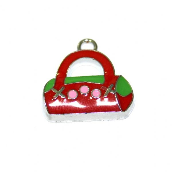 1pce x 19*15mm Rhodium plated dark red handbag enamel charm - SD03 - CHE1097.